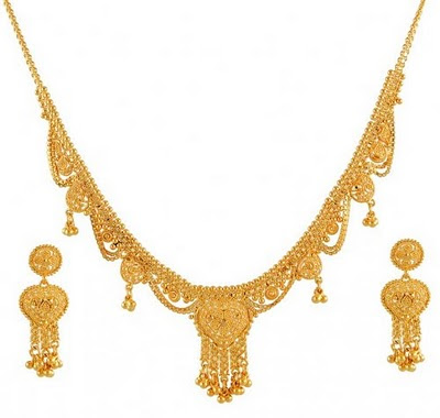 Gold Necklace Set with Earrings Desings