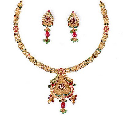 Indian Jewellery Design Gold Stone Necklace Sets Designs Gallery
