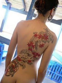 Japanese Girl Back Tattoo design of Star Fish Tattoo