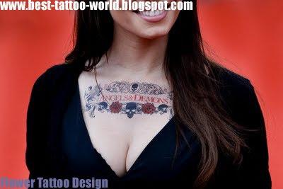 Beautiful Flower Tattoo Design on Women Chest