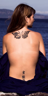 Chinese Butterfly Tattoo Design on Female Back Body