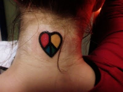 Peace and Love Tattoo Design on Female Neck