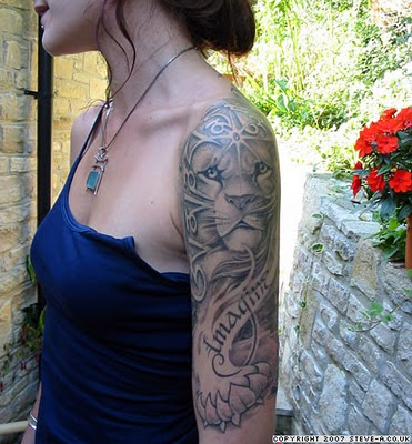 "Lion Tattoo Design on Sexy Girl Arm Sleeves. Random Tattoo Quote: ""The woman"