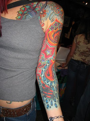Colourfull Arm Sleeves Tattoo Design For Young Girls
