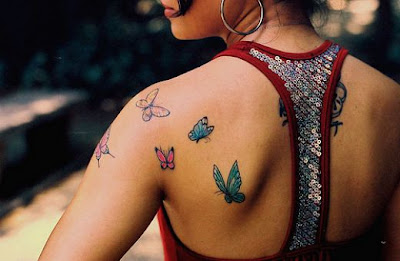 Upper Back Butterfly Tattoo Design For Girls