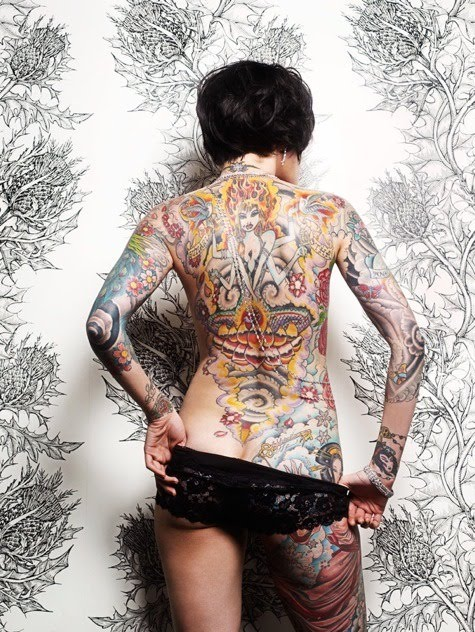Full Back Religious Tattoo Design on Hot Girl