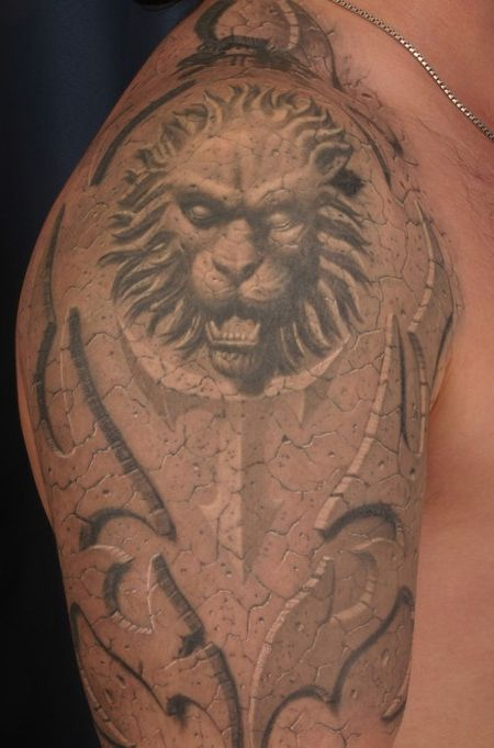 Lion Face Tattoo Design on Arms - 3D Tattoos