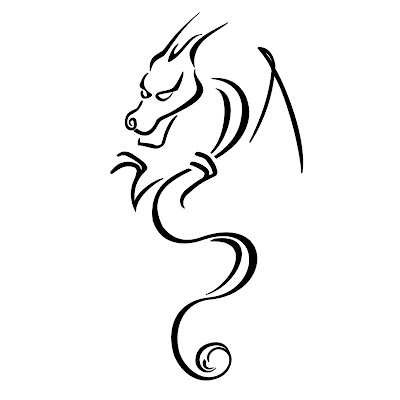 Simple Dragon Tribal Tattoo Design