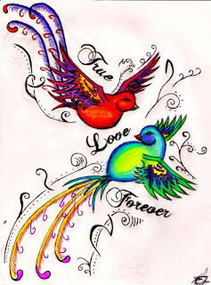 True Love Forever Bird Tattoo Design