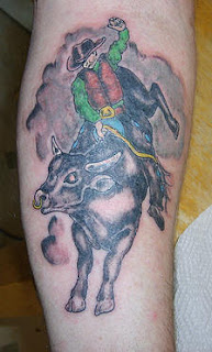 Bull Rider Tattoo Design on Leg