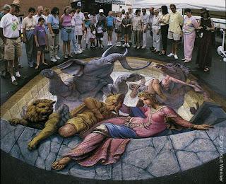 kurt wenner 3d chalk art on street