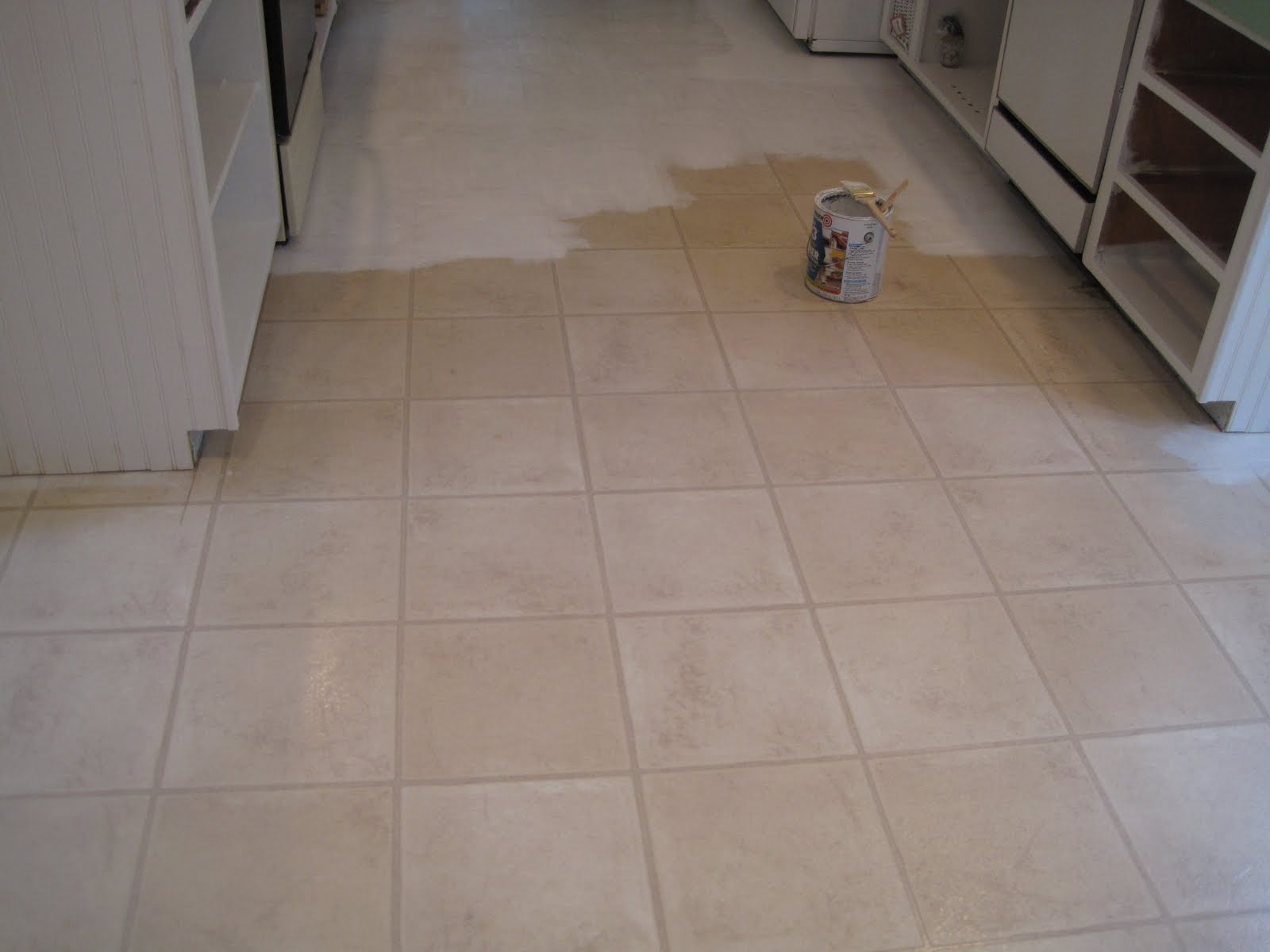 Beautiful nest painted vinyl floor for Can you paint over vinyl flooring