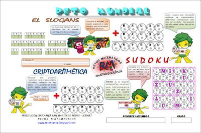 Retos matemáticos, Problemas matemáticos, Desafíos matemáticos, Criptoaritmética, Criptosuma, Criptomundial, Sudoku mundial, Problemas de lógica, Problemas de ingenio