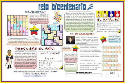 Bicentenario, Historia de Colombia, Retos Matemáticos, El Bicentenario y las matemáticas, Las matemáticas y la Historia de Colombia, Sudoku, Descubre el Personaje