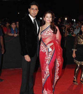 Aishwarya Rai in Red Designer Saree