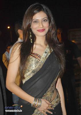 Payal Rohatgi in black designer saree