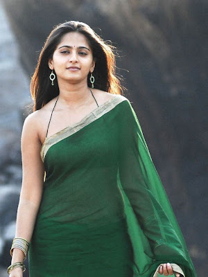 Anushka Shetty in Green plain saree with bikini style blouse
