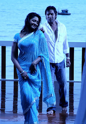 South actress Vimala Raman in Blue Printed Saree