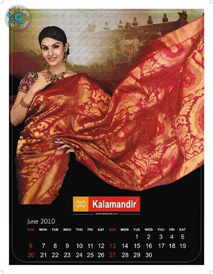 Model posing in red silk saree