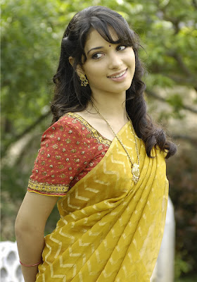 Actress Tamanna in Yellow Saree