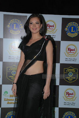 Urvashi Sharma in Black transparent saree