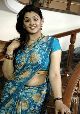 Aarti Agarwal in Blue Saree  http://designersareeimages.blogspot.com/