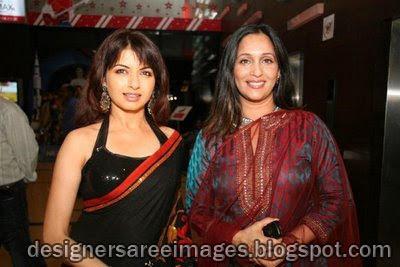 Bhagyashree in designer saree at the Zhak Marli Bayko Keli premiere