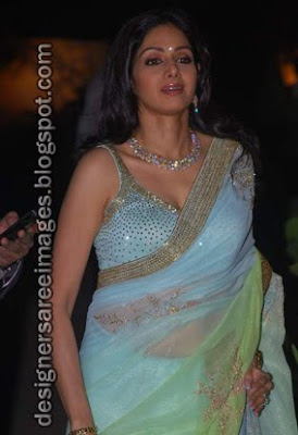 Sridevi in Blue Designer Saree at the Ambika Hinduja Wedding party