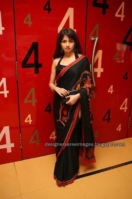Bhagyashree in black Designer Saree with Halter neck Blouse