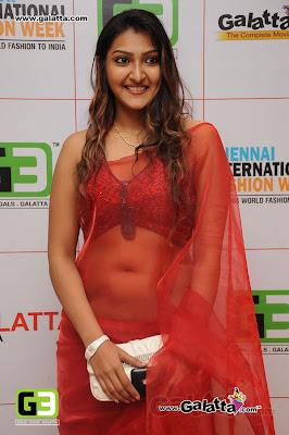 South Actress in Transparent Red Saree at Chennai International Fashion Week