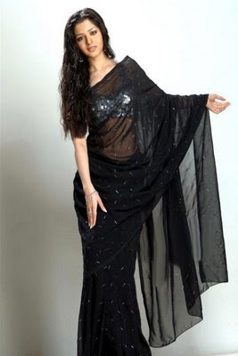 South Indian Actress in Black Saree Photos Vedika