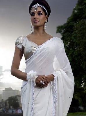 Bipasha Basu beautiful in white saree