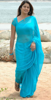 Sangeetha in Blue Saree  http://designersareeimages.blogspot.com/