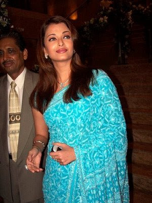 Aishwarya Rai in Blue Designer Saree and blouse.