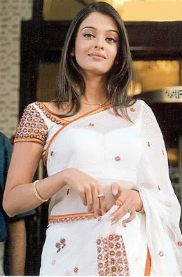 Aishwarya Rai in White designer saree with work blouse.