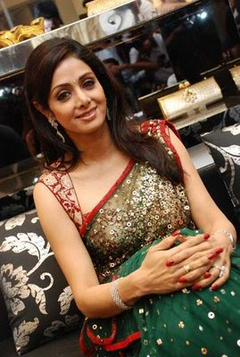 Sridevi in green designer saree and blouse