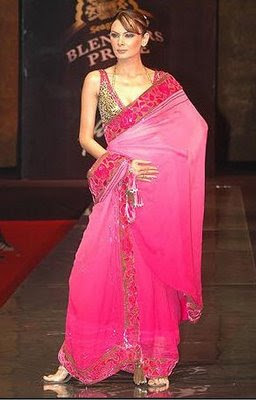 Pink brasso saree with animal print blouse