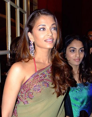 Aishwarya rai in designer saree with Spaghetti strap blouse.