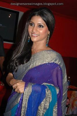 Konkana Sen Sharma in Blue Designer Saree
