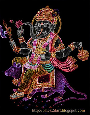Hindu God - Lord Ganesha riding on a rat