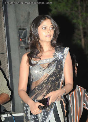 Actress Bindu Madhavi in Black Transparent Saree