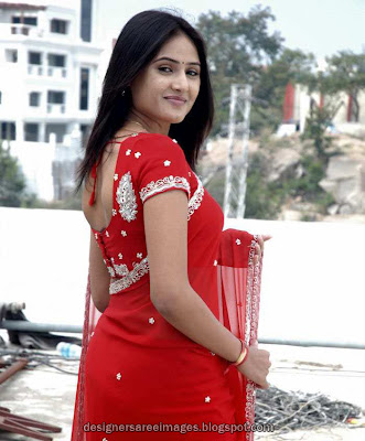Tollywood Actress Sony Charishta in Red Designer Saree