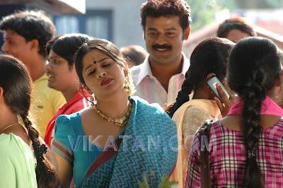 Actress Sangeetha in Blue Handloom Print Saree
