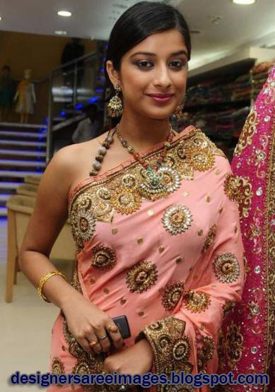 Actress Madhurima in Pink Saree with Designer Sari Blouse