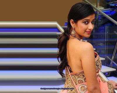 Actress Madhurima in Pink Saree with Designer Sari Blouse