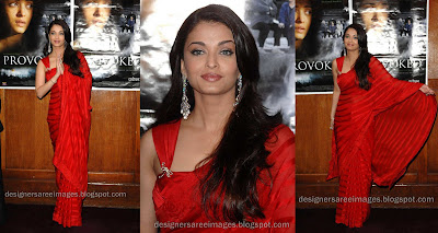 Aishwarya Rai in Red Designer Saree with Designer Sari Blouse image