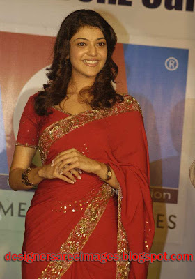 Actress Kajal Agarwal in Red Designer Saree picture