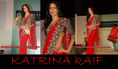 Katrina Kaif in Red Designer Saree at Nakshatra Vivaah Collection Launch