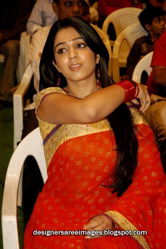 Actress Charmi in Red Designer Saree picture