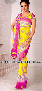 Aamna Sharif in Yellow Printed saree with pink border
